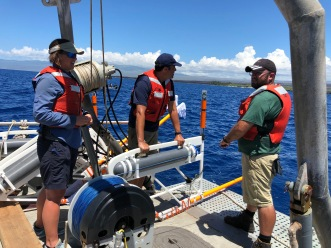 Preparing for deployment of the Porpoise array.